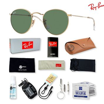 Ray-Ban RB3447 Round Metal Sunglasses with Deluxe Eyewear Accessories Bundle
