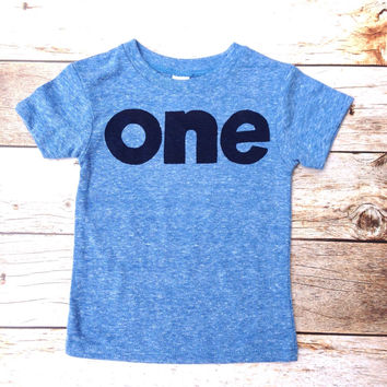 Triblend blue boys 1st birthday shirt with navy one kids birthday theme first party