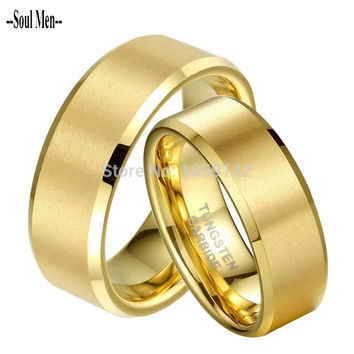 1 Pair Gold Plated Tungsten Wedding Ring Set for Couple Lovers Promised Jewelry Bridegroom Bridal anillos