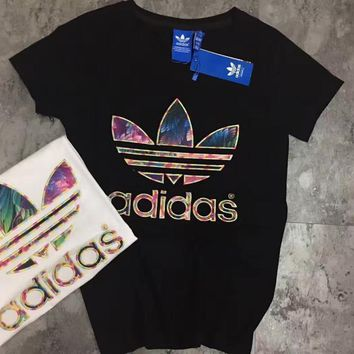 ADIDAS PRINT embroidery black high quality short sleeve top shirt