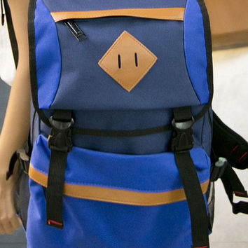 Deep Blue PU-Trim Color-Block Backpack