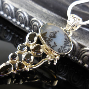 Dendritic Agate and Smoky Quartz Gemstone Sterling Silver Pendant/Necklace