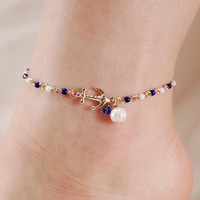 Anchor and Pearl Chain Link Anklet