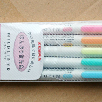 5 pastel Highlighter mid liner pens soft colors