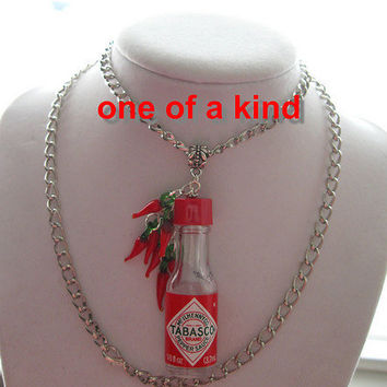 Tabasco mini bottle pepper  HOT sauce NECKLACE by loving2angels