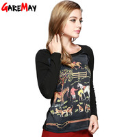 Women's Silk Shirts Blouses 2016 Autumn Horse Long Sleeve