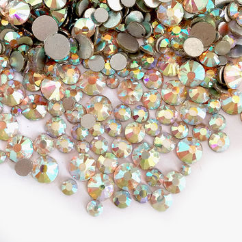 Mixed Size Crystal AB Flat Back Rhinestones High Quality