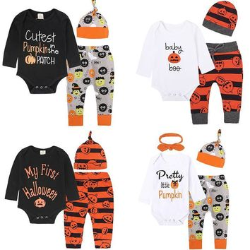 Baby Girls Boy Clothes Halloween Newborn Set Letter Pumpkin Romper Children Jumpsuit+Pants 2pcs Costumes Toddler Kids Clothing