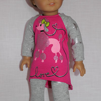 18 inch doll clothes, 2 piece set! pink poodle high low long sleeve shirt, grey leggings, American Girl, Maplelea