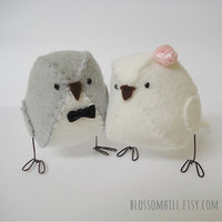 Ready to Ship! - Summer wedding love birds  -  cake topper in silver grey and white