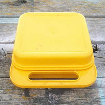 Vintage Yellow Tupperware Square Container and 7 Tuppertoys stencils 1980s