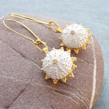 Sea Urchin Collection Gold and White Earrings by staroftheeast