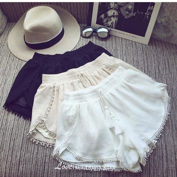Summer Women Solid Pom Trimmed Linen Shorts Female Elastic Waist Casual Cotton Wide Leg Shorts With Tassel Fringe Wool Ball