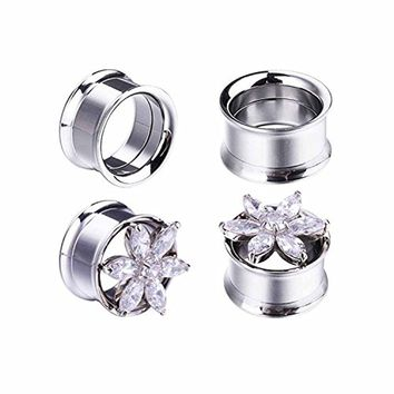 BodyJ4You 4PC Double Flared Flower CZ Jeweled Ear Tunnels Gauges Plugs Stretcher Set 14mm (9/16 Inch)