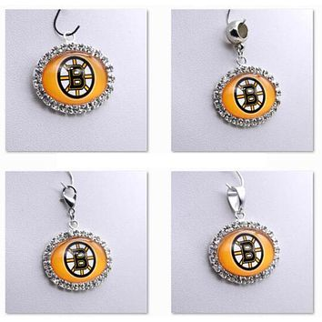 Pendant Charms Rhinestone NHL Boston Bruins Charms for Bracelet Necklace for Women Men Ice Hockey Fans Paty Fashion 2017
