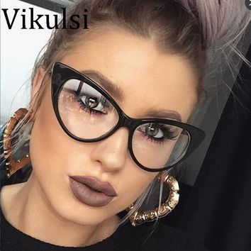 16d2a8feee 2017 New Sexy Cat Eye Optical Glasses Women Transparent Eyewear