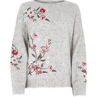 Grey floral embroidered jumper - Knitwear - Sale - women