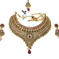 Ethnic Bridal Jewelry Ruby Pink White Stones Gold Tone Kundan Polki Necklace Earrings Sets | Mogul Interior
