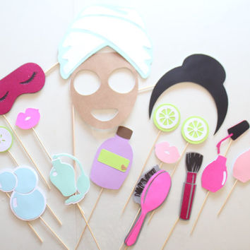 17pc * Spa Party Photo Booth Props/Spa Day/Spa Props/Girls Spa Day Props/Photobooth Props