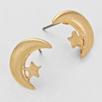 Crescent Moon & Stars Stud Earrings - Gold
