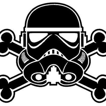 Storm Trooper Skull Crossbones  Vinyl Car/Laptop/Window/Wall Decal