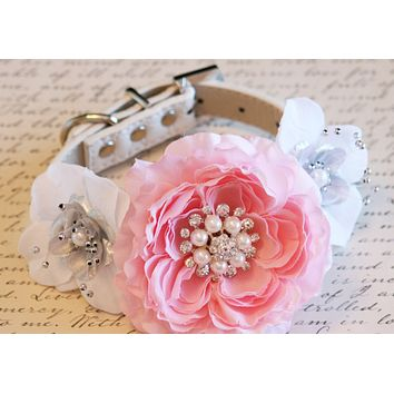 Pink Peonies, white and silver Floral Dog Collar Wedding, Floral, Pearls and Rhinestones, handmade