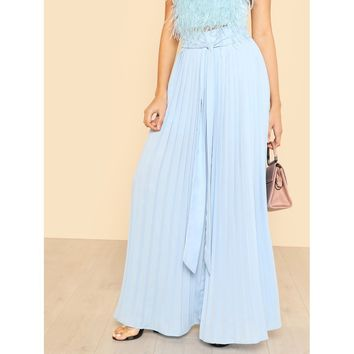 Self Tie Pleated Palazzo Pants