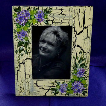 Hand Painted Wedding Picture Frame Wood Photo Holder Hydrangeas Crackle 5x7