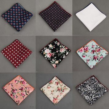 2017 Vintage Cotton+Polyester Handkerchief Floral Printed Pocket Square Wedding 23cm*23cm Hankies For Men Brand Pocket Towel