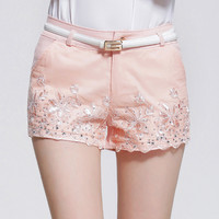 Floral Lace Applique Belted Shorts