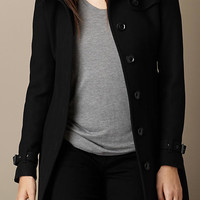 Single-Breasted Double Wool Twill Trench Coat