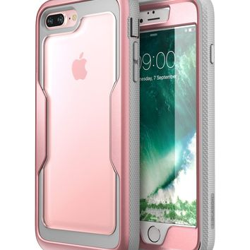 i-Blason iPhone 8 Plus Case, [Heavy Duty Protection] [Magma Series] Shock Reduction / Full body Bumper Case with Built-in Screen Protector for iPhone 7 Plus 2016 / iPhone 8 Plus 2017 (RoseGold)