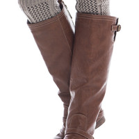Knit Net Leg Warmers, Gray