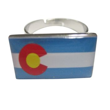 Colorado State Flag Adjustable Size Fashion Ring