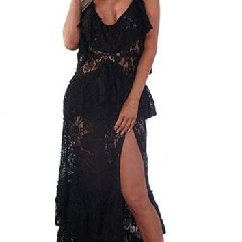 Indie XO South Beach Bombshell Black Lace Sleeveless Spaghetti Strap Tier Ruffle Slit Casual Maxi Dress