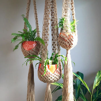 "Boho Hippie Macramé Plant Hangers Retro 70s Collection ""Venus"" Line Set of 3 Trio Matching Xtra Large Long Jute Mid Century Modern Decor MCM"