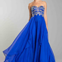 Strapless Sweetheart Floor Length Formal Dress Rhinestones Accents Layers