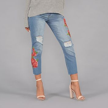 High Rise Rose Embroidered Girlfriend Jeans