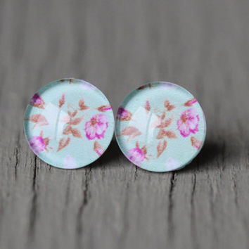 Fake Plugs : Aqua Floral Wallpaper Stud Earrings, Fake Plugs, Cabochon, Flat Back, Vintage, Victoria, Blue, Pink, Green, ArtisanTree