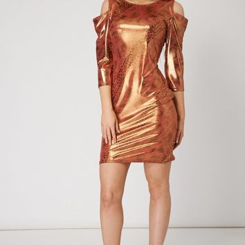 Glossy Abstract Printed Evening Dress