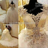 Wholesale New Arrival Bling Bling Crystals luxury v-neck handmade flower cathedral train Wedding Dresses 008, Free shipping, $393.12-408.8/Piece   DHgate