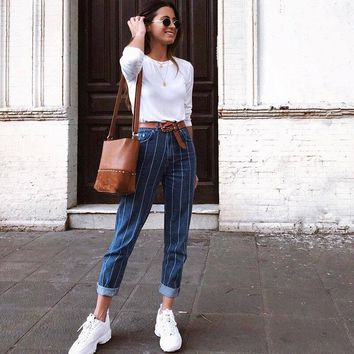 Vintage Striped Jeans Woman Zipper Up Skinny Jeans for Women Patchwork High Waist Denim Slim Blue Pencil Jeans Feminino
