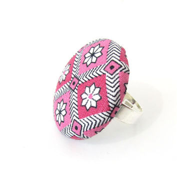 Large pink ring - big button ring - flower fabric ring - adjustable ring - Christmas gift - white black flower