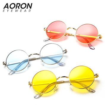Ocean candy color Tinted lens Pink Blue Steampunk Unisex Sunglasses Men Women Eyeglasses Round Brand Designer Sun glasses Mirror