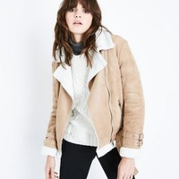Parisian Camel Faux Fur Aviator Jacket | New Look