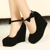 New Sexy Women Fashion Buckle ladies Shoes Vogue Wedges RED APRICOT BLACK High Heels Platform Pumps j3415 [8833996876]