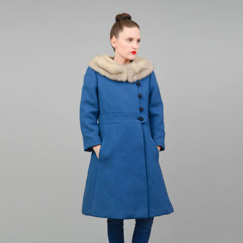 Vintage 50s 60s Coat Blue Wool Princess Coat Blonde Mink Fur Collar 1950s Winter Coat Small XS S
