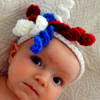 baby headbands  fourth of july red white and by crochetedcuddles