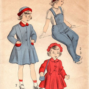 Vintage Sewing Pattern Advance 1940s Child's Coat Hat Overalls Pants Snow Suit Bib Winter Toddler Size 8