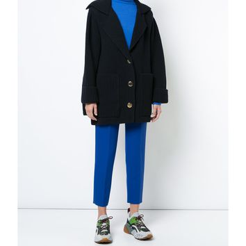 Stella McCartney Ribbed Cardi-Coat - Navy Long Sleeve Coat